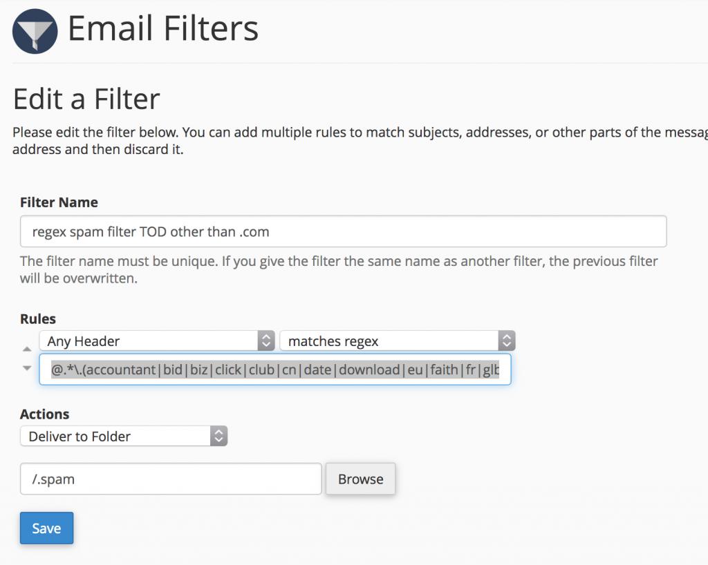 regex TLD email filer regular rexpression