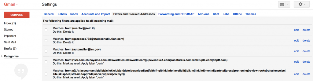 gmail regex filter