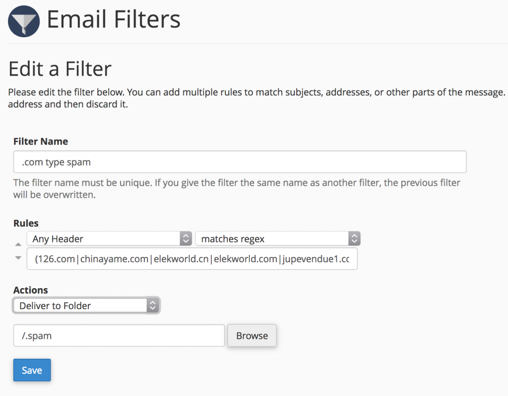 email filter rules